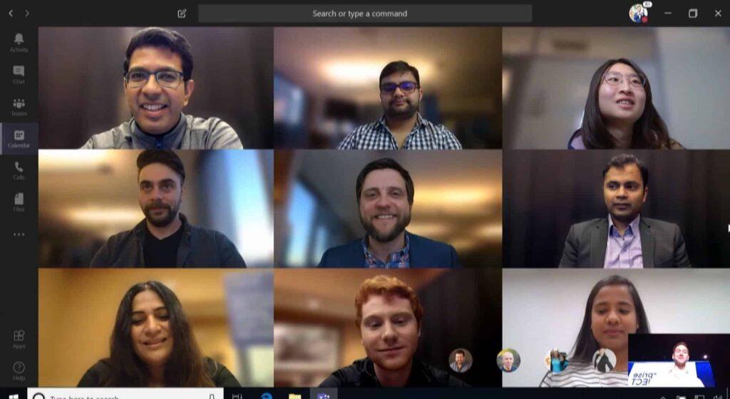 Screenshot Microsoft Teams 9 deelnemers in beeld