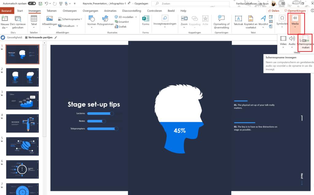 Screenshot scherm opnemen Microsoft Stream in PowerPoint