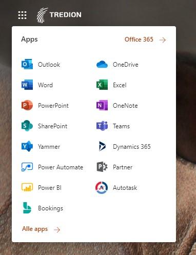 Screenshot Microsoft 365 apps