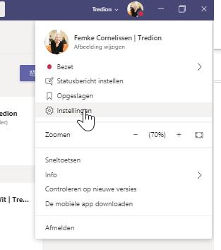 Screenshot Microsoft Teams instellingen