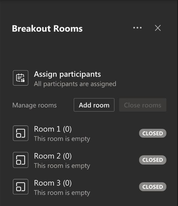 Screenshot Microsoft Teams Breakout Rooms