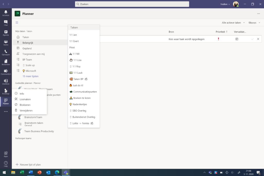 Screenshot Microsoft Teams planner