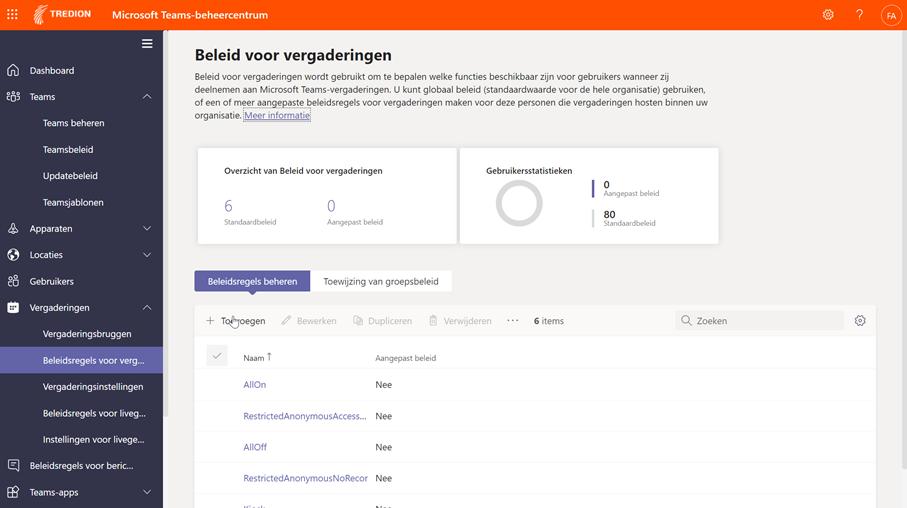 Screenshot Microsoft Teams beheercentrum