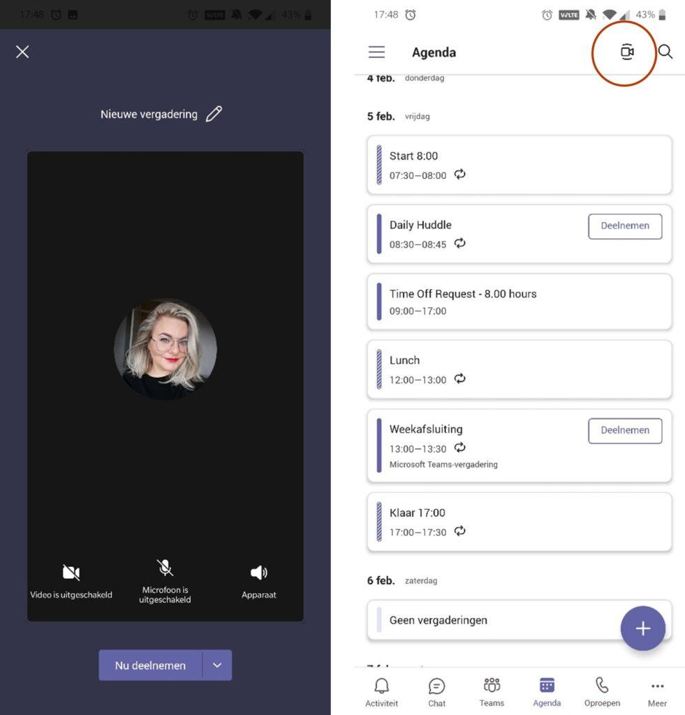 Screenshot Meet Now in Microsoft Teams