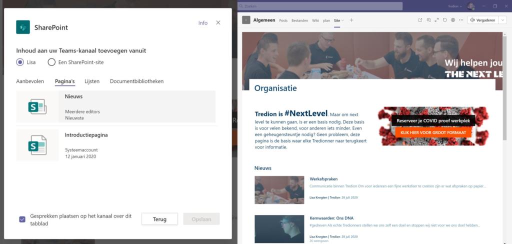 Screenshot SharePoint koppelen aan Microsoft Teams