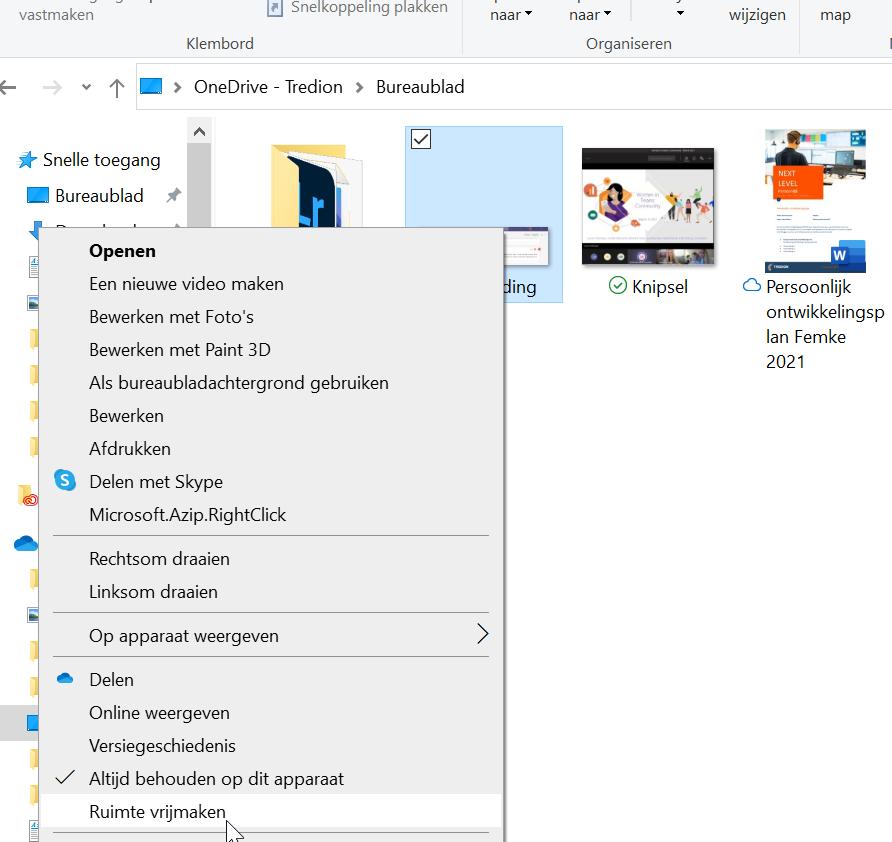 Screenshot OneDrive ruimte vrijmaken