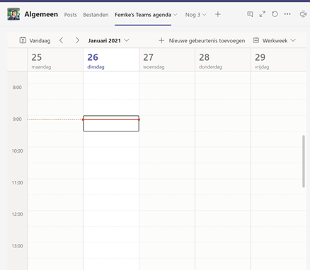 Screenshot MS Teams agenda