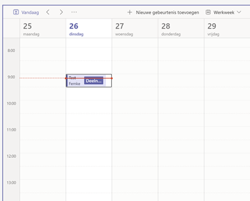 Screenshot MS Teams gedeelde agenda